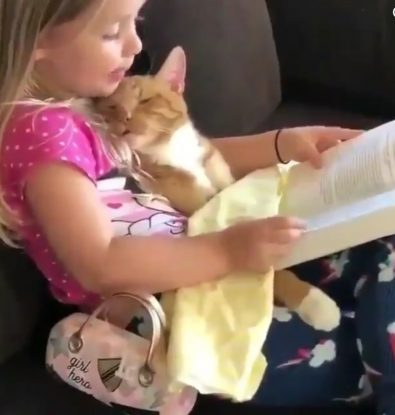 girl-reading-to-her-cat-will-make-you-smile