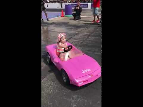 Little Girl Does Burnouts In Barbie Toy Car